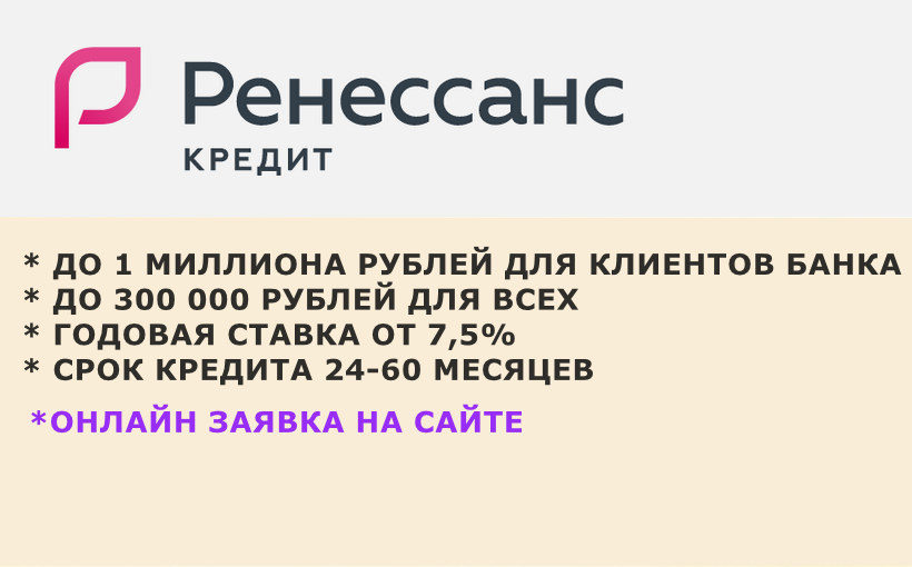 Кредит наличными Ренессанс банк